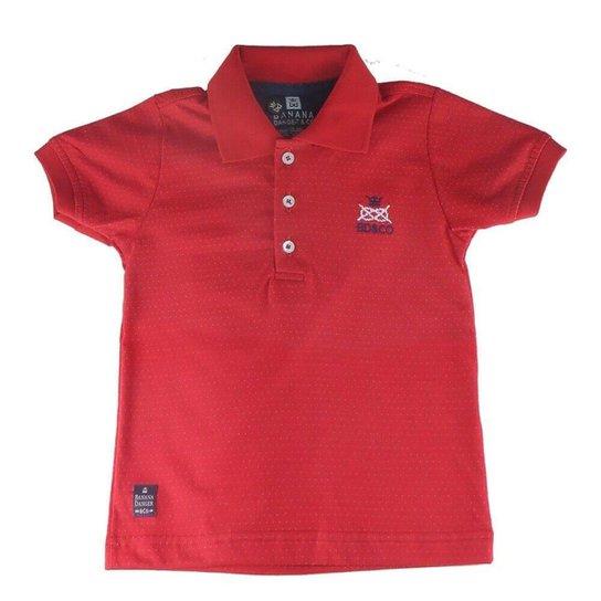 abc8cdd14e Camiseta Polo Bebê Banana Danger Mini Poá Masculina - Vermelho ...