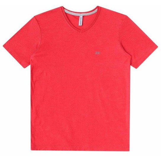 fff2a9d5df Camiseta infantil Johnny Fox algodão lisa básica Gola V Masculina - Vermelho