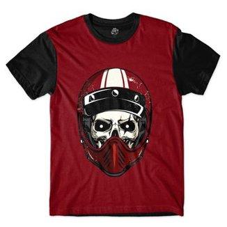 Camiseta BSC Caveira de Capacete Vermelho Risco Masculina 757f6593e69