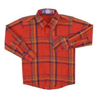7534708490 Camisa Mnaga Longa Infantil Rodeo Western Xadrez Masculina