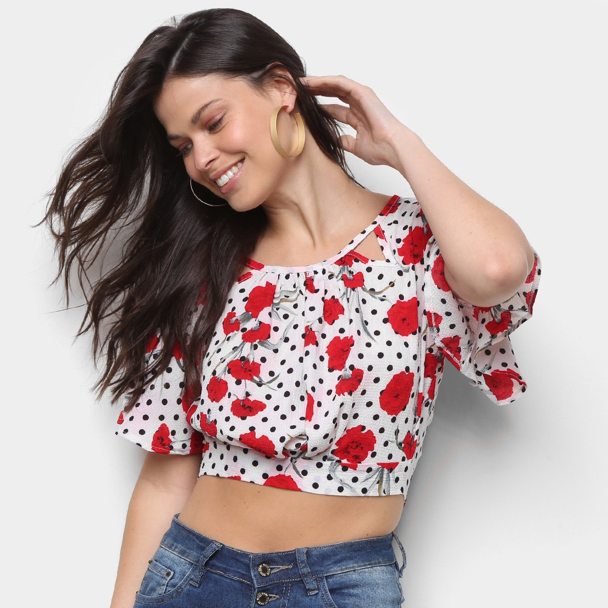 Blusa Sofia Fashion Cropped Amarração Poá Floral Feminina