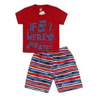 Conjunto Camiseta e Bermuda Pirata Gueda Kids Masculino 31e1a53fb7a