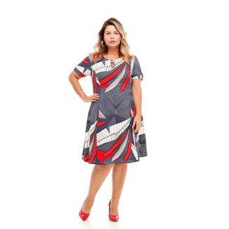 4dac844a01 Vestido Melinde Plus Size Curto Piquet Print