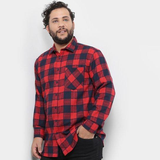 6ba71516e2338c Camisa Xadrez Delkor Plus Size Masculina - Vermelho