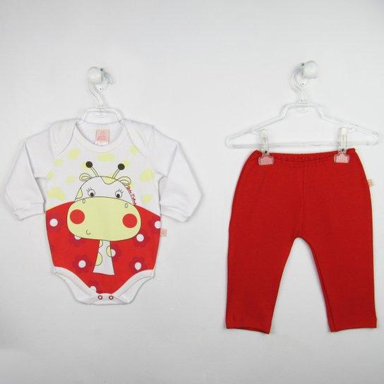 d0be374fab Conjunto Bebê Feminino Body Manga Longa Branco Girafa e Calça Vermelha -  Vermelho