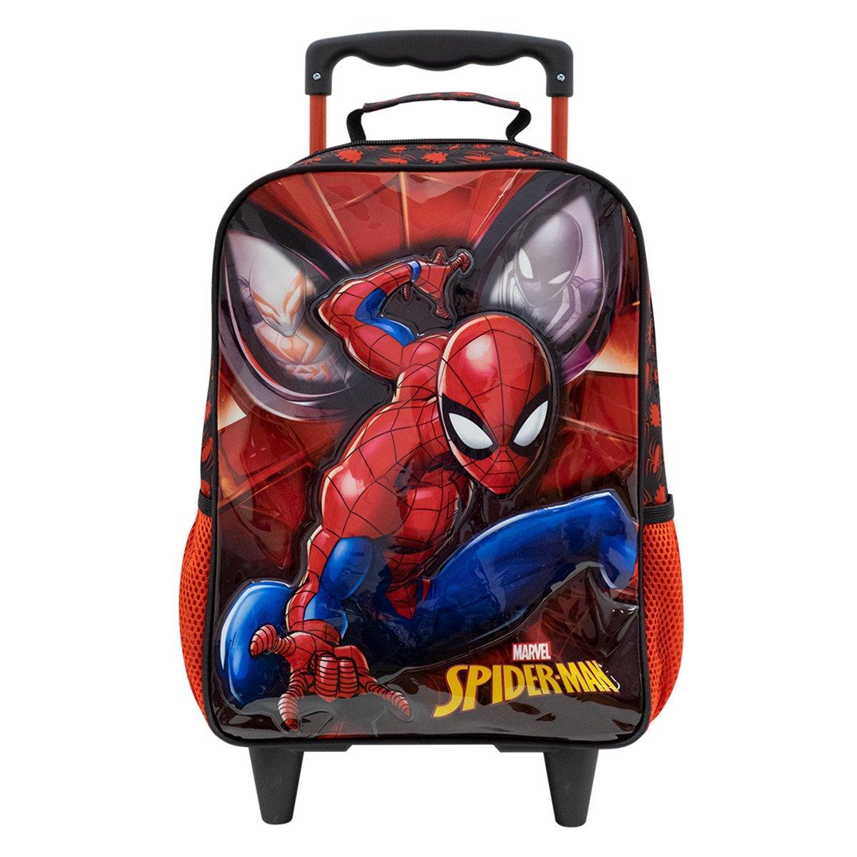 "Mochila com Rodinhas Infantil Xeryus Spider Man 16"" Masculina"