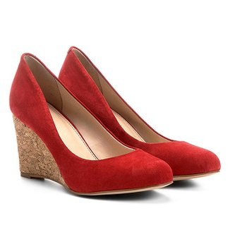 7b504d4228 Scarpin Couro Shoestock Anabela Bico Amendoado