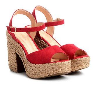 62a0382819 Sandália Shoestock Meia Pata Corda Camurça Feminina