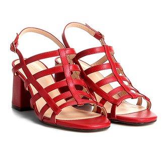 8658ff3456 Sandália Shoestock Salto Grosso Tiras Feminina