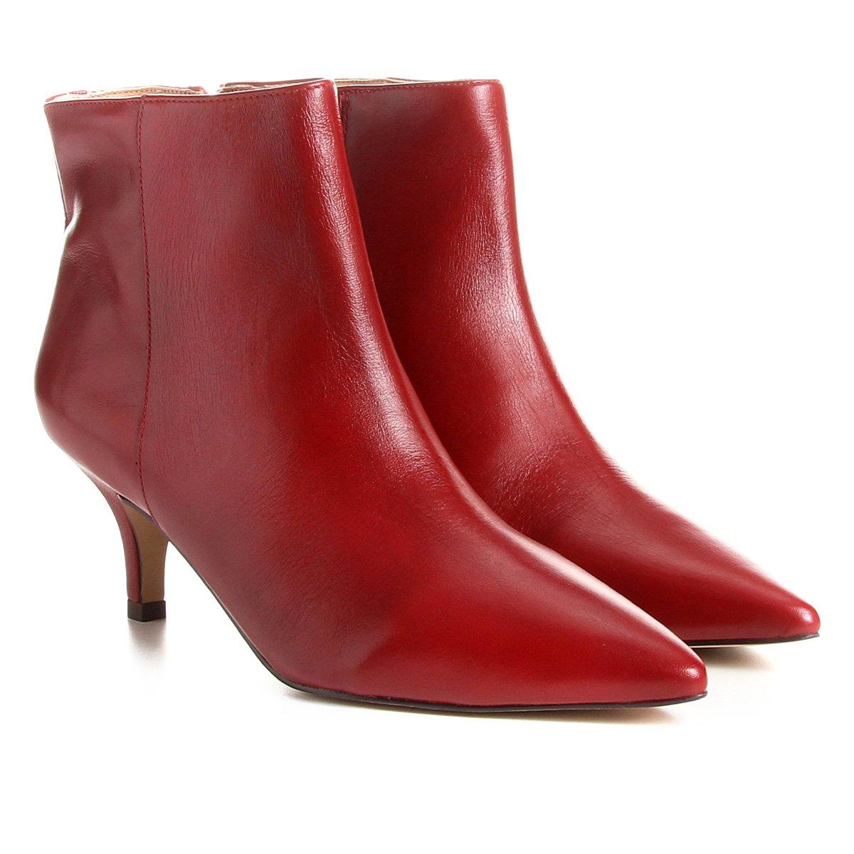 1ad4e1c84 ... Bota Couro Cano Curto Shoestock Salto Curto Feminina