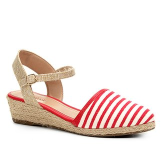 a37a1b9b6f Sandália Anabela Shoestock Espadrille Linho Feminina