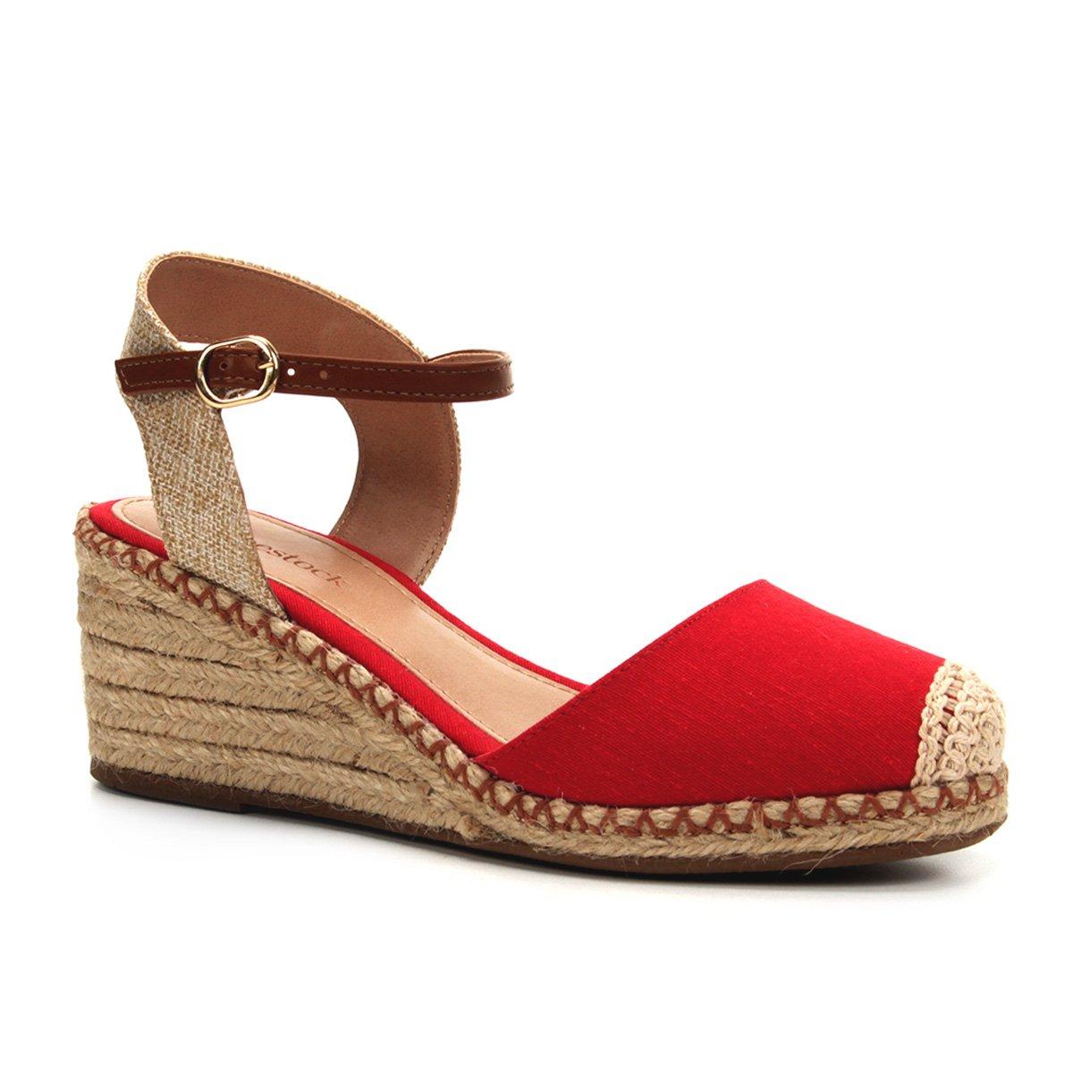 9a04c1dd9 Sandália Anabela Shoestock Corda Lona Feminina