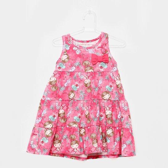 0e2f05ed6bcfb Vestido Infantil Elian Malha Penteada Estampado Camadas Lacinho - Rosa