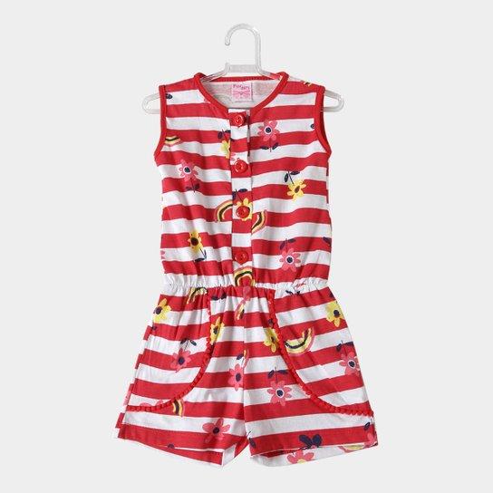 4f922ece8e Macaquinho Infantil For Girl Estampa Listra Floral Feminino - Vermelho