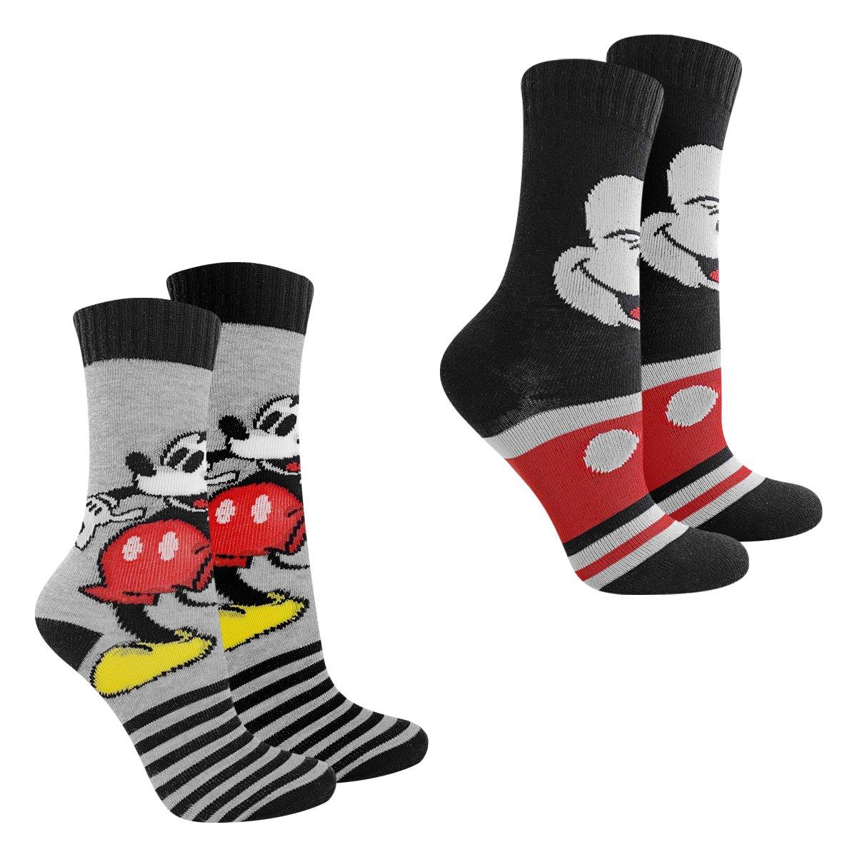 Kit Meia Infantil Disney Cano Longo Mickey 2 Pares Masculina