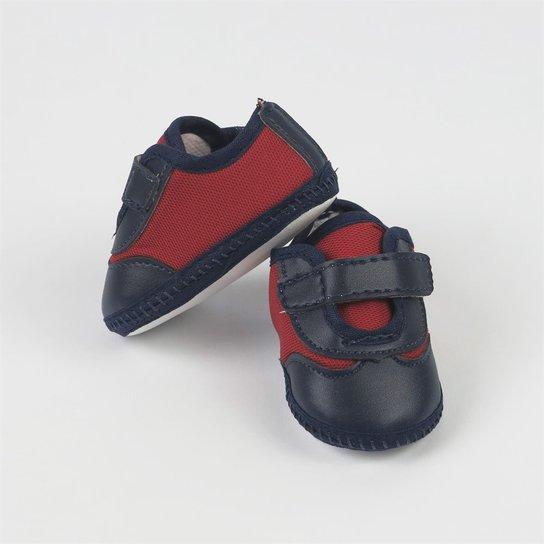 c33e20e2ea Sapatênis Bebê Masculino Vermelho e Azul Marinho com Velcro-P -  Marinho+Vermelho