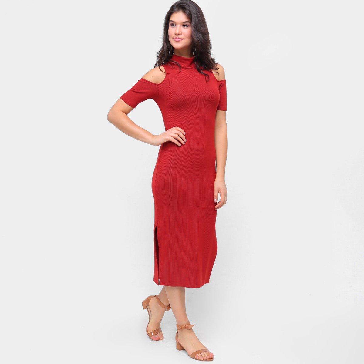 Vestido Morena Rosa Midi Gola Alta Abertura Ombro Listrado
