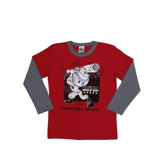 044f50c576d Camiseta Manga Longa Juvenil Para Menino - Vermelho