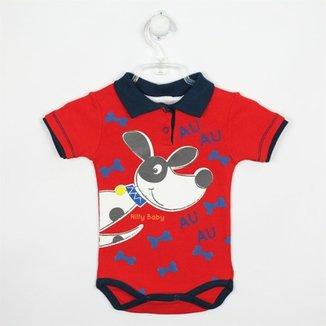 Body Bebê Masculino Manga Curta Gola Polo-Azul Claro-M ede65556917