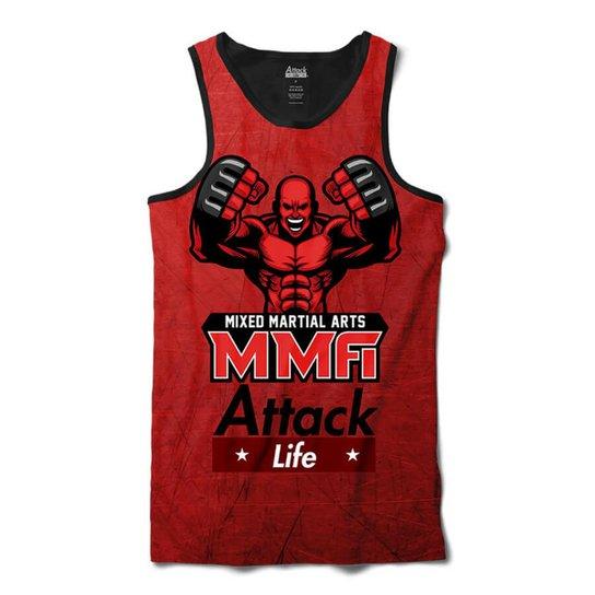 Camiseta Regata Attack Life Lutas e Musculação Lutador MMA Sublimada  Masculina - Vermelho 526e7c24cdd