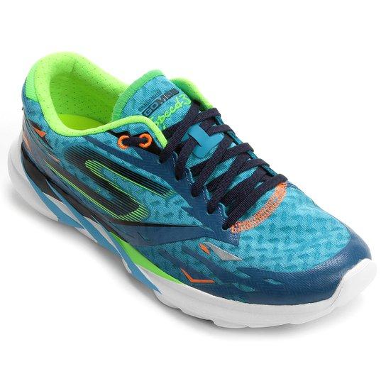 28f57320c2 Tênis Skechers GO Meb Speed 3 - Azul+Verde Limão