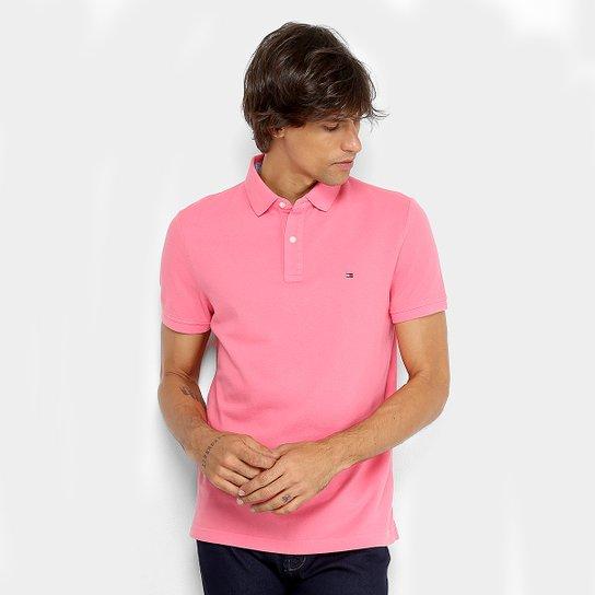 b2e0c7e8e3 Camisa Polo Tommy Hilfiger Básica Masculina - Rosa