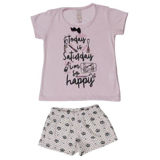 Pijama Estrela E Luar Infantil - Rosa - Compre Agora   Zattini fa16dbb59e