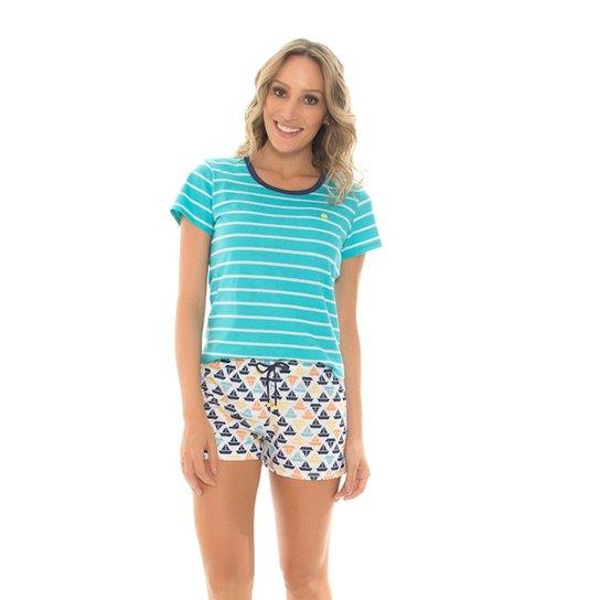 2373ffdefa663c Pijama Recco Curto de Malha Listrada e Malha 100% Algodão - Verde água