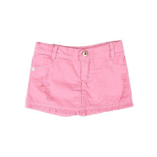 f479690e6 Short-Saia Sarja Infantil PETIT TATHI Feminino - Rosa - Compre Agora ...