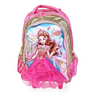 75eef2ce2 Mochila Escolar de Rodinhas Infantil Clio Estampa Princesa Yris Feminina