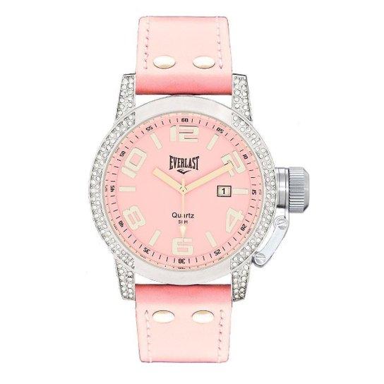550794ae3 Relógio Pulso Everlast Com Pulseira Em Couro E064 Feminino - Rosa ...