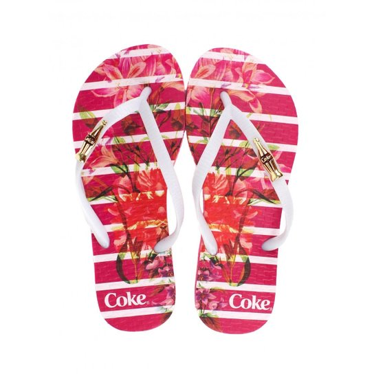 8c590ce23 Chinelo Floral Coca Cola Bloom Stripes Feminino | Zattini