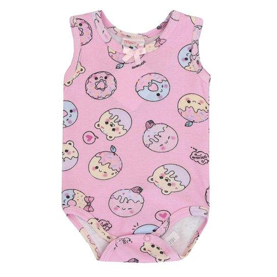 e414ba4bdbdcfb Body Bebê Malha Cavado Donuts Meia de Leite Feminino - Rosa