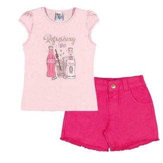 3a5c560be0 Conjunto Infantil Pulla Bulla Cotton Feminino