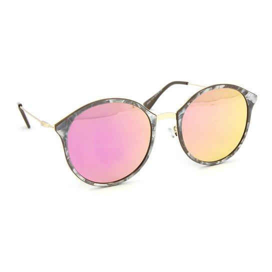 Óculos de Sol Marmorizado Redondo Lente Espelhada - Rosa - Compre ... 029b38dc0f