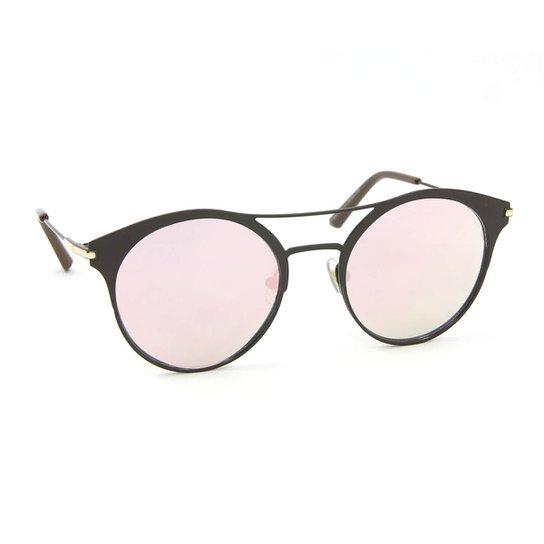 fbcac08a0 Óculos de Sol Estilo Top Bar Redondo Espelhado - Rosa | Zattini