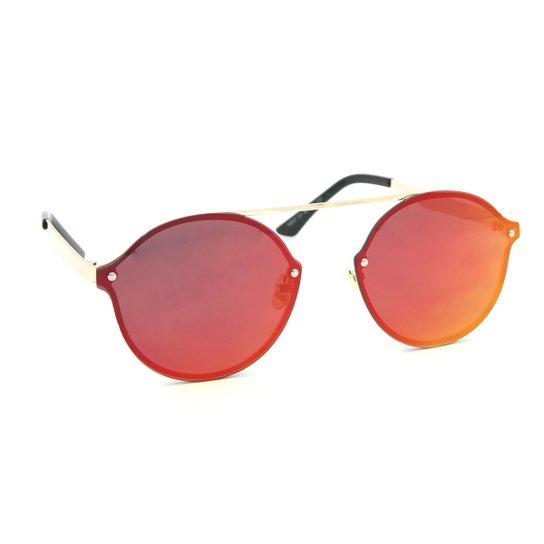 08fda955cc2dc Óculos de Sol Estilo Flat com Lente Espelhada - Rosa - Compre Agora ...