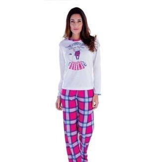 fc80d56c02 Pijama Feminino Plush Inverno Frio Longo Victory