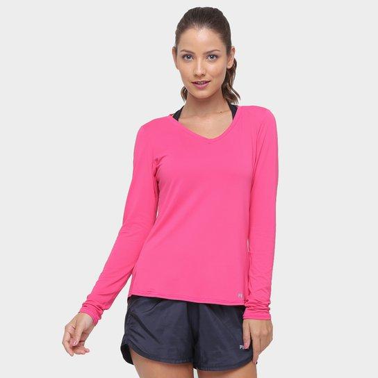 6834719130 Camiseta Fila Bio Manga Longa Feminina - Rosa - Compre Agora