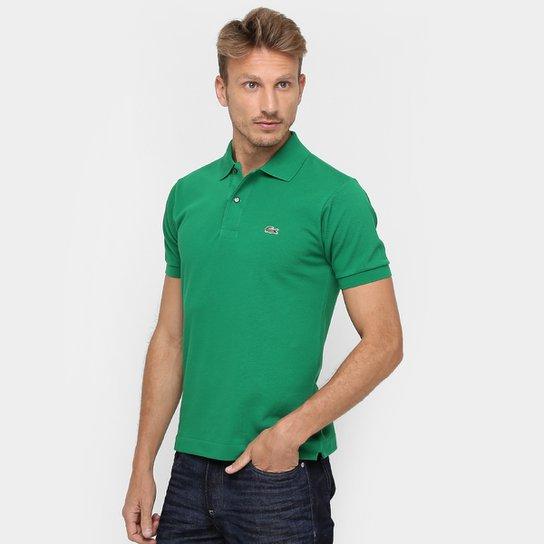fad3a0dad7e62 Camisa Polo Lacoste Original Fit Masculina - Verde e Branco - Compre ...
