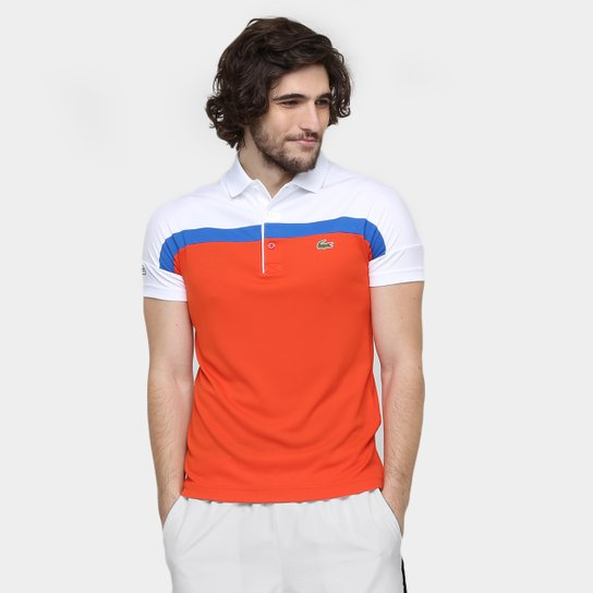 c770a3e5e4506 Camisa Polo Lacoste - Branco+Laranja