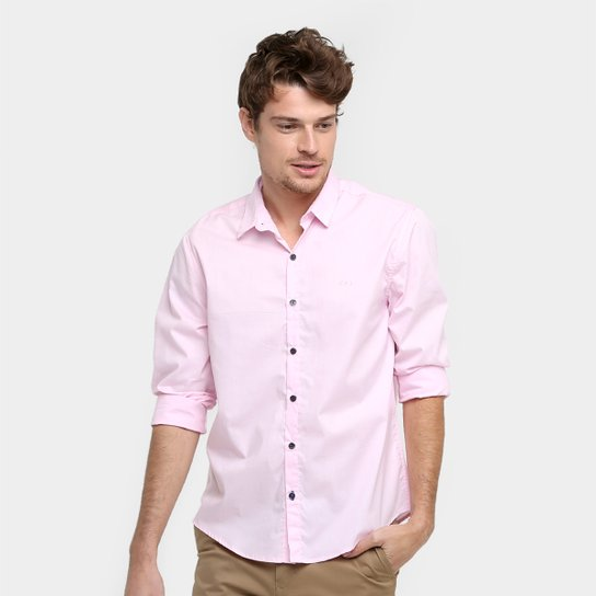 faf56b4460 Camisa Social Calvin Klein Slim Fit Manga Longa Masculina - Compre ...
