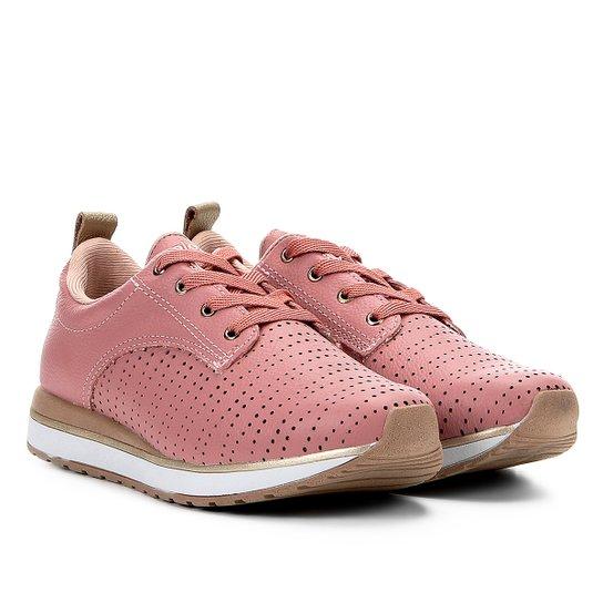 a910ee8e23f2f Tênis Couro Kolosh Jogging Perfuros Feminino - Rosa - Compre Agora ...
