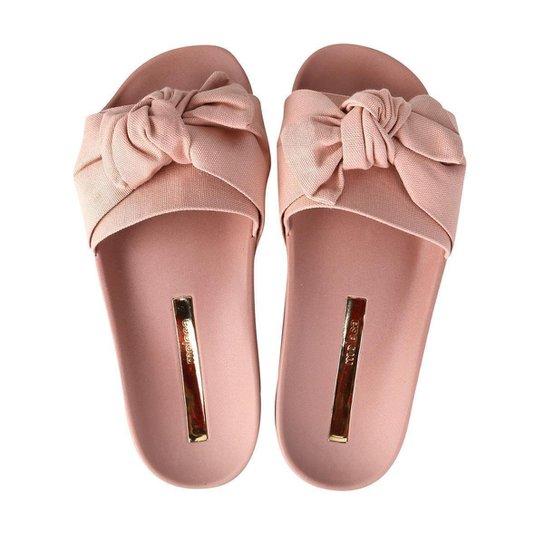 0b7ba0954d Chinelo Moleca Slide Laço Feminino - Rosa - Compre Agora