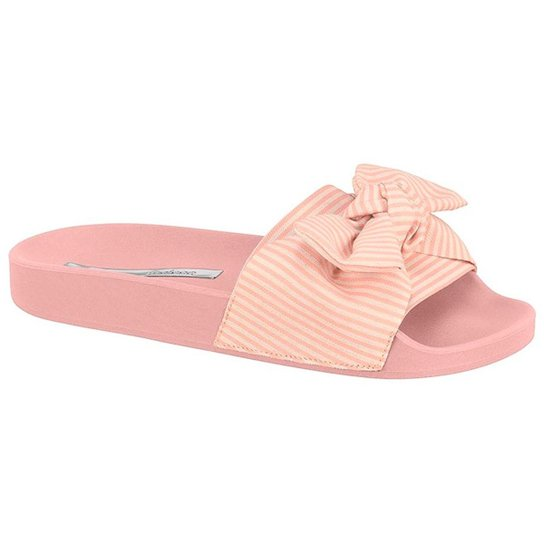 c28ac1b6a0 Chinelo Moleca Slide Laço Listrado Feminino - Rosa - Compre Agora ...