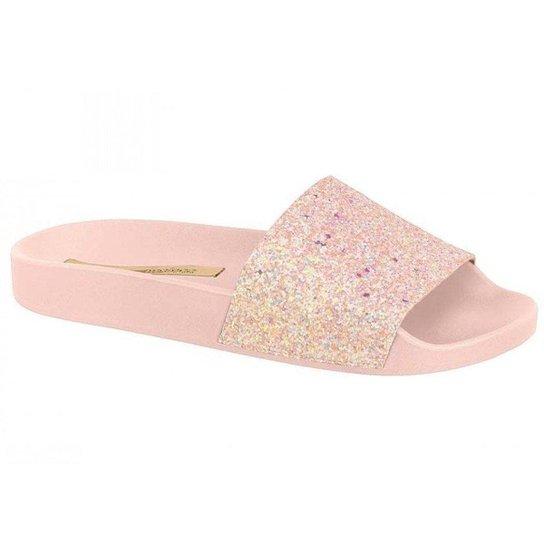 bbbfbbbcbb Chinelo Slide Moleca Glitter - Rosa - Compre Agora