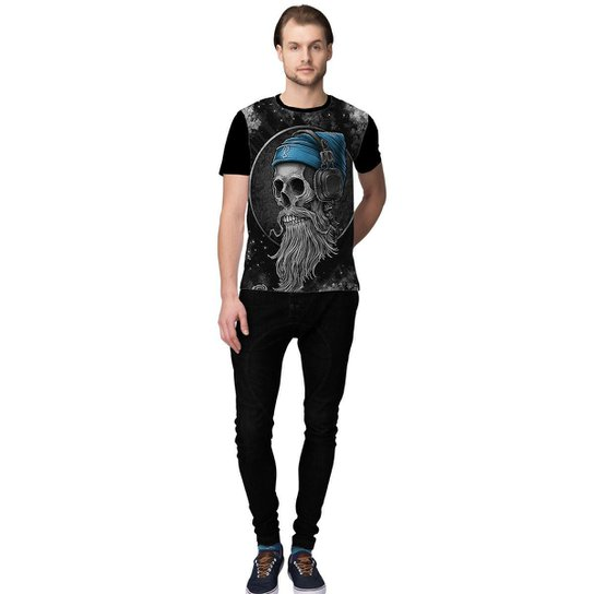 d444c80b44534 Camiseta Stompy DJ Skull Masculino - Preto e Azul - Compre Agora ...