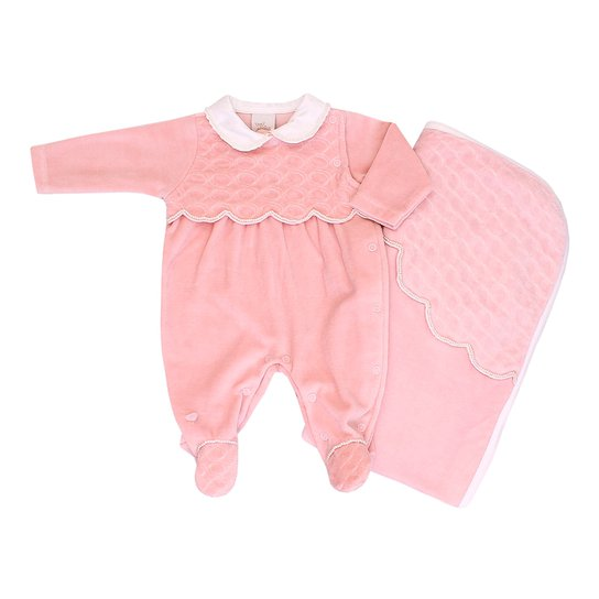 51e0c744000 Kit Macacao e Manta Anjos Baby Plush Rosa - Compre Agora