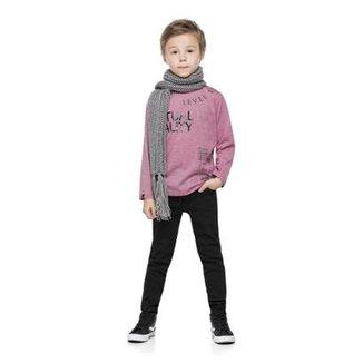 b3a900642b3 Camiseta Manga Longa Meia Malha Infantil Quimby