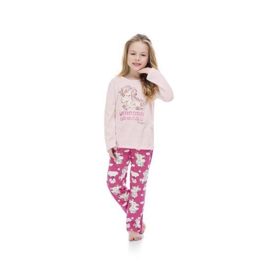 9c72ec231d0e98 Pijama Blusa E Calça Meia Malha Mãe E Filha Quimby Feminino - Rosa